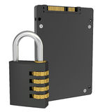 Solid State Drive and combination lock. Isolated render on a white background Stock Photography