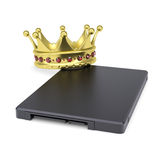 Solid-state drive with the crown. Isolated render on a white background Royalty Free Stock Images