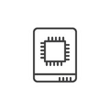 Solid state drive line icon, outline vector sign Royalty Free Stock Photography