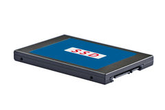 Solid state drive (SSD). 2.5 inch (notebook size) solid state drive (SSD), sata interface Stock Photo