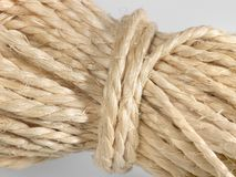 Solid twine. Detail of a solid twine in light back Stock Image