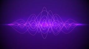 Solid v?g Dynamiskt fl?da f?r abstrakt purpurf?rgat f?rgljus Musik- eller teknologibakgrund ocks? vektor f?r coreldrawillustratio royaltyfri illustrationer