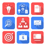 Solid white color flat style creative business process icons set Stock Photos