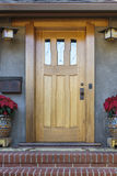 Solid wood front door Stock Photography