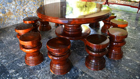 Solid wood kitchen table set Stock Images