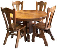 Solid wood kitchen table set, isolated Royalty Free Stock Photo
