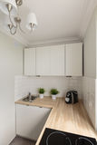 Solid wooden kitchen worktop Royalty Free Stock Images