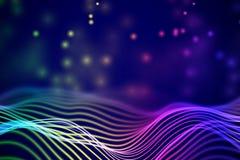 solida vågor 3D med att sväva partiklar Abstrakt visualization för data royaltyfri illustrationer