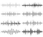 Solida vågor för svart musik Ljudsignal teknologi stock illustrationer