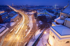 Solidarity Avenue in Warsaw by Night Stock Photography