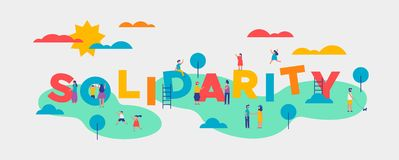 Solidarity Day banner of diverse people community. Solidarity Day banner illustration for equality and community help concept. Diverse people doing fun outdoor stock illustration