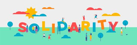 Solidarity Day banner of diverse people helping royalty free illustration