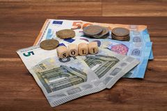 Solidarity fee german Solidarbeitrag. Euro money cash stock images