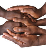 Solidarity gesture of hands. Solidarity is the social bond of reciprocal commitment and dependence between persons thus held to the welfare of others, usually Stock Photos