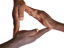Solidarity gesture of hands. Solidarity is the social bond of reciprocal commitment and dependence between persons thus held to the welfare of others, usually Royalty Free Stock Photo