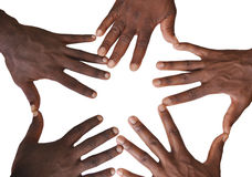 Solidarity gesture of hands. Solidarity is the social bond of reciprocal commitment and dependence between persons thus held to the welfare of others, usually Royalty Free Stock Image