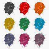 Solide Ikone im menschlichen Kopf vektor abbildung