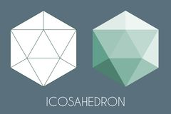 Solide platonique d'Icosahedron Illustration sacrée de vecteur de la géométrie illustration de vecteur