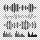 Solide Wellenformikone des Vektors Schallwellen und musikalisches Impuls vecto lizenzfreie abbildung