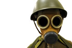Solider in gas mask. Isolated solider in world war I gas mask Stock Photo