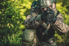 Solider with Handgun Royalty Free Stock Image