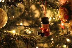 Solider Hanging Christmas Decoration Royalty Free Stock Photos