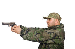 Solider holding gun isolated on white Stock Photos