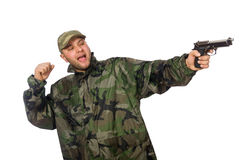 Solider holding gun isolated on white Royalty Free Stock Photos