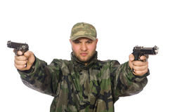 Solider holding gun isolated on white Royalty Free Stock Images