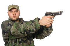 Solider holding gun isolated on white Stock Photo