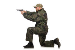 Solider holding gun isolated on white Royalty Free Stock Photo