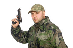 Solider holding gun Stock Photography