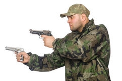 Solider holding gun Stock Image