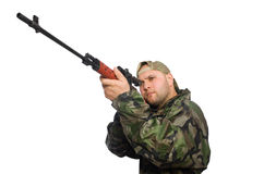 Solider holding gun Royalty Free Stock Images