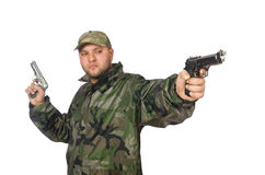 Solider holding gun on white Stock Photography