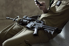 Solider with rifle Stock Photography