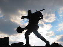 Solider statue silhouet. Solider going off to war memorial in Cambridge, UK Royalty Free Stock Photo