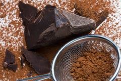 Solides de cacao et poudre de cacao Photographie stock libre de droits
