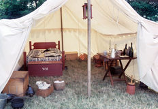 Solidiers Tent. A reconstruction of a tent used in the civil war Stock Photography