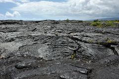 Solidified Pahoehoe Lava Flow, Hawaii Big Island Stock Photo