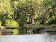 Solidni drewnianych mostów napinający sceniczni strumienie i zatoczki fotografia stock