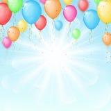 Solig bakgrund med färgballonger Arkivfoton
