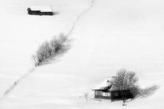 Solig dag av en vinter, på lösa Transylvania kullar Royaltyfri Foto