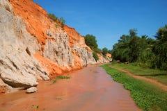 Solig dag för The Creek feer Omgivningen av Mui Ne Arkivbilder