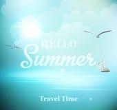 Solig dag för sommar med sikter av havet med Arkivbild