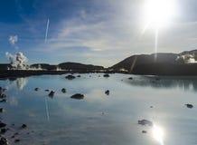 SOLIG DAG I DEN BLÅA LAGUN ISLAND Fotografering för Bildbyråer