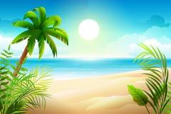 Solig dag på den tropiska sandiga stranden Palmträd och havsparadisferier vektor illustrationer
