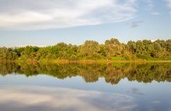 Solig dag på en lugna flod i sommar Arkivfoto