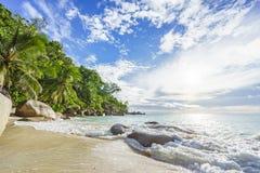 Solig dag på georgette för paradisstrandanse, praslin Seychellerna 41 Royaltyfria Bilder