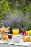 Solig frukost i trädgård Royaltyfria Bilder